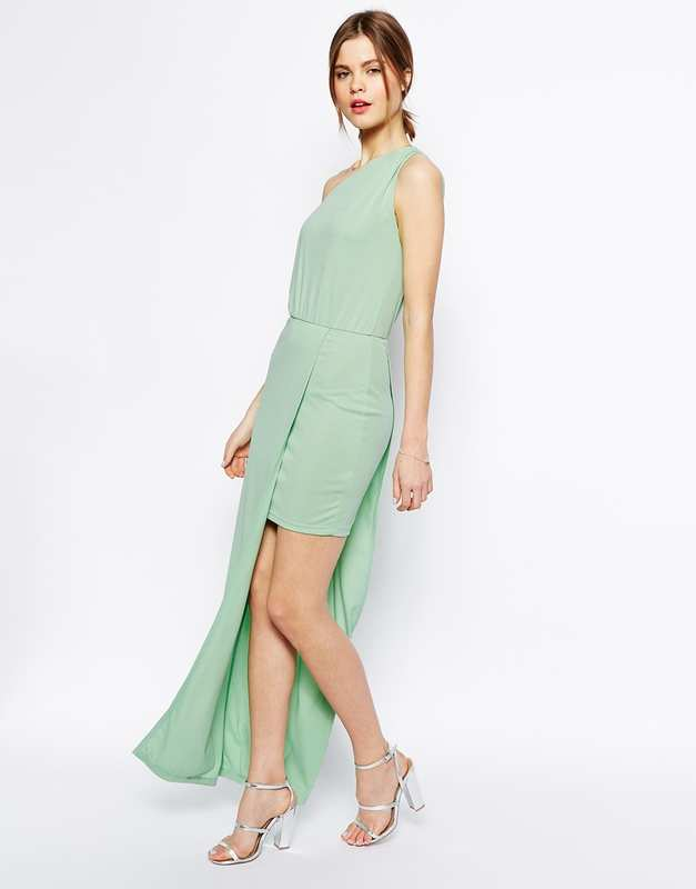 Robe asymetrique cocktail vert pale