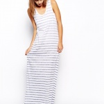 maxi robe longue ete blanche rayee grise