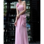 robe avec roses bustier cocktail habillee longue drape rose