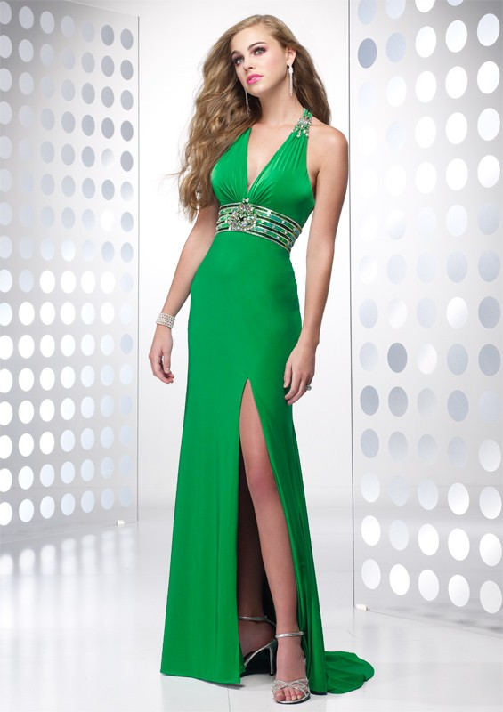 robe ceinturee fine bretelle longue cocktail verte fendue