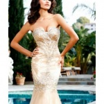 robe cocktail mariage dore bustier tres moulante