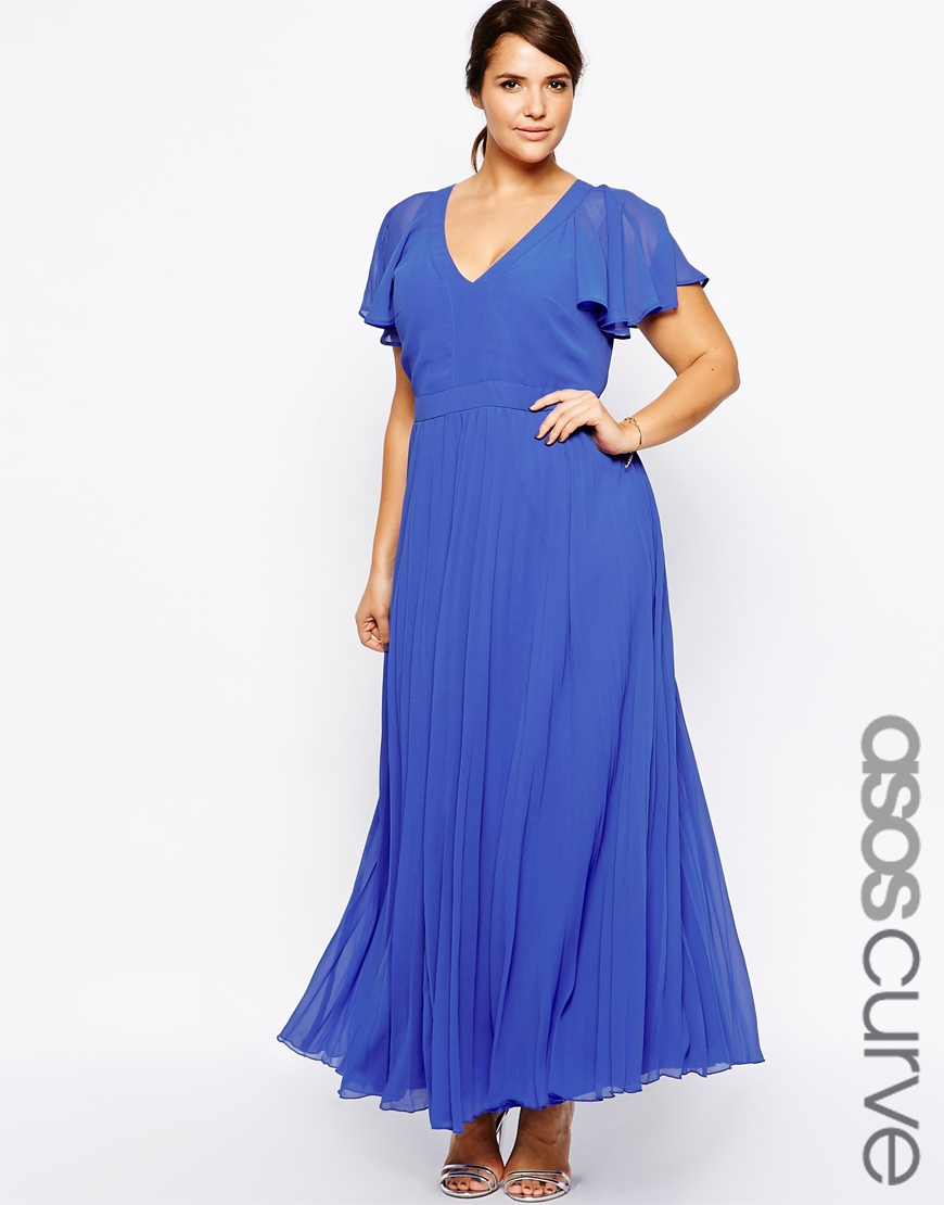 Robe fluide longue cocktail xxl bleu manche courte la for Cocktail xxl
