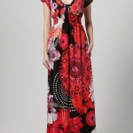 robe longue desigual grande taille rouge manches courtes