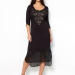 robe longue grande taille hiver voile noir manche 3 4 taille 46
