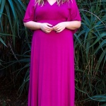 robe longue grande taille orleans taille 44 rose manches mi longues