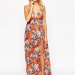 robe maxi ete tres decollete et fendue rouge orange