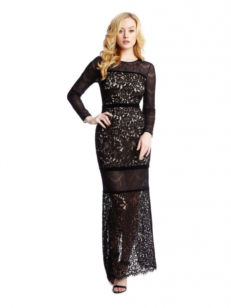 robe longue hiver marciano guess dentelle noire
