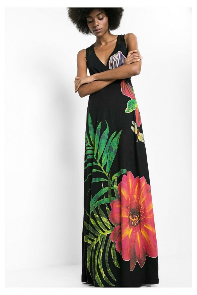 Robe barbara ete collection 2016 desigual sans manche maxi longueur