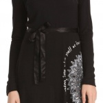 Robe manches longues desigual issue noire