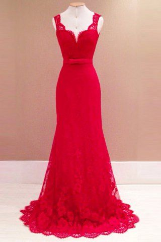 Robe maxi longue habillee dentelle rouge