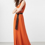 Robe orange mango maxi longue lavalliere