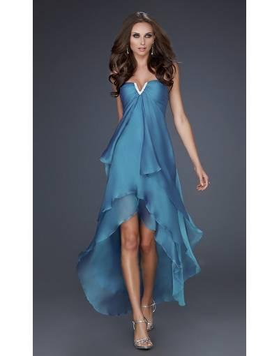 Belle robe asymetrique longue derriere bustier bleu