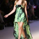 Robe asymetrique verte noire originale soie bustier