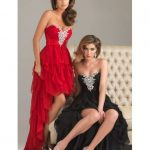 Robe bustier courte devant longue derriere strass noire rouge