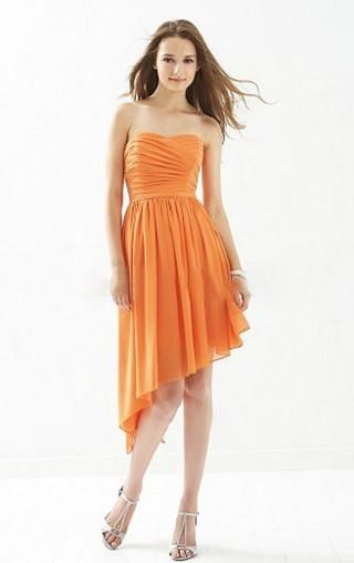 Robe bustier orange courte devant longue derriere demoiselle d honneur