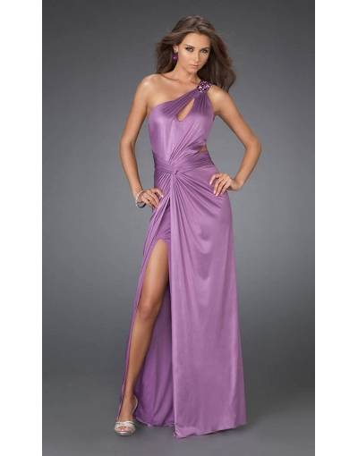 Robe courte devant longue derriere de ceremonie violette bretelle unique