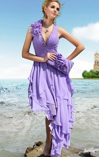 Robe courte devant longue derriere violette