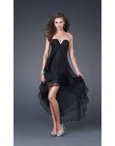 Robe longue asymetrique noire soiree a volants