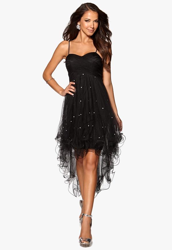 Robe noire asymetrique froufrou soiree