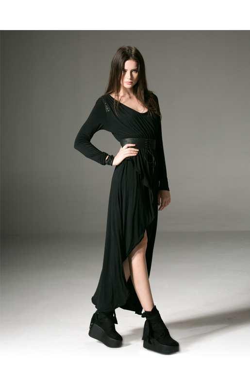 ea523d4b33db5 Robe noire manches longues courte devant longue derriere ebay - la ...