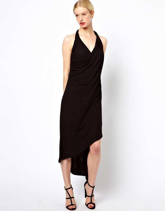 Robe noire sans manche courte devant longue derriere asos