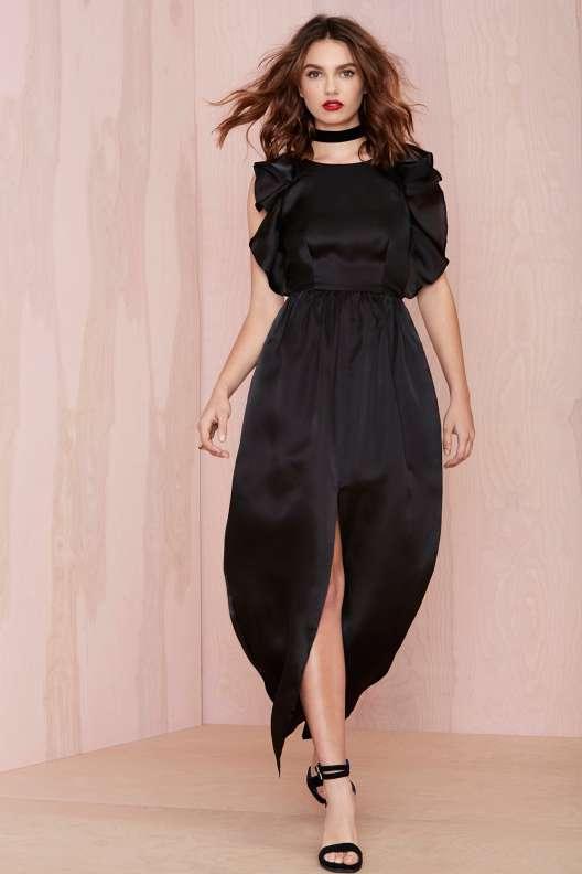belle robe longue cocktail noire de soiree originale