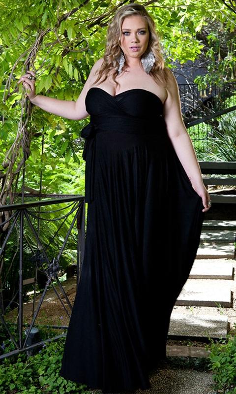 belles robes grandes tailles maxi longues noire bustier