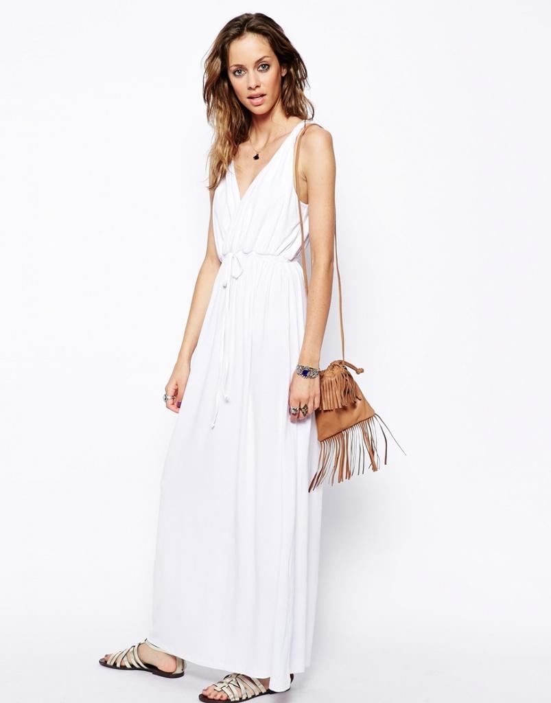 maxi robe longue ete blanche a bretelles