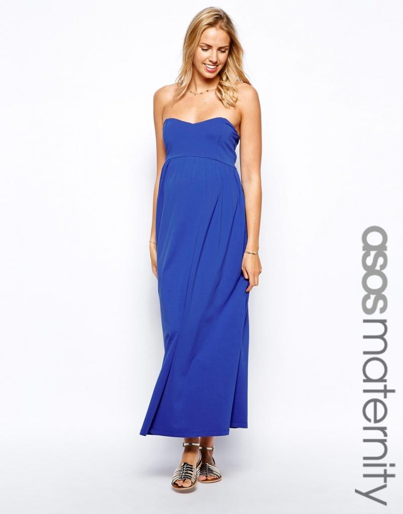 maxi robe bustier longue femme enceinte bleu