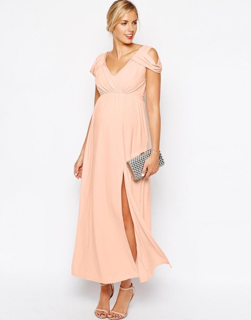 ravissante robe rose pale de grossesse longue pour ceremonie