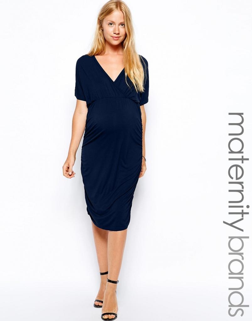 robe bleu fonce mi longue femme enceinte