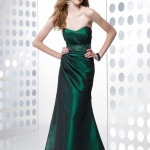 robe bustier longue cocktail vert emeraude