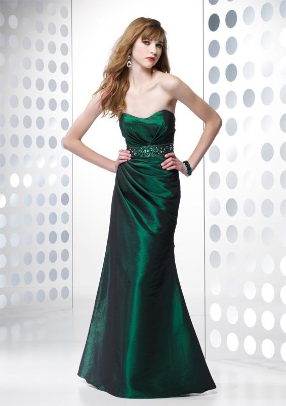 robe bustier longue cocktail vert emeraude