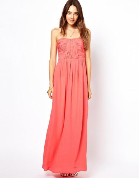 robe bustier longue de cocktail pas cher rose orange