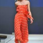 robe bustier orange a pois longue ete coloree