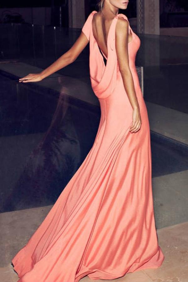 robe cocktail fluide habillee maxi longue avec traine