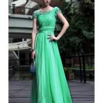 robe cocktail habillee longue verte manches asymetrique