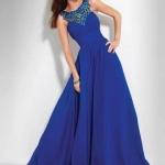 robe cocktail mariage bleu fonce avec effet bustier et deux textures