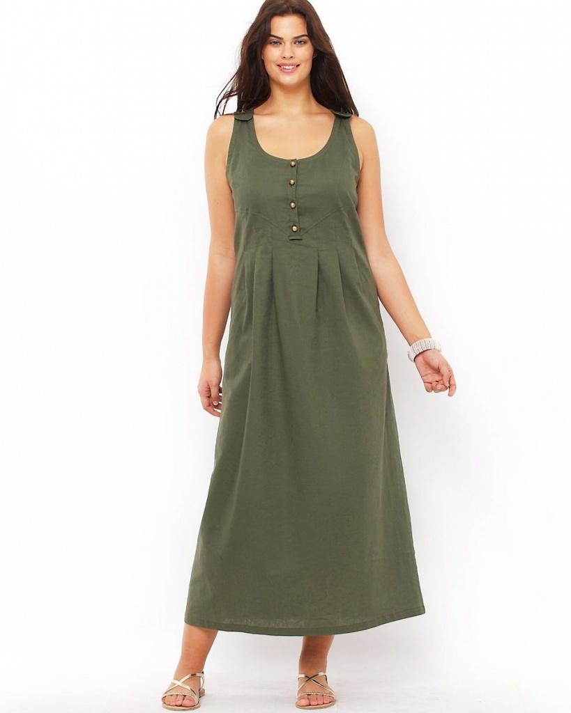 e1adf2b5d2c robe coton longue grande taille pas cher kaki sans manche - la robe ...