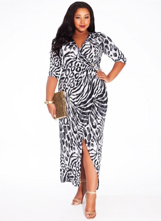 robe courte devant longue derriere grande taille fendue imprime animal