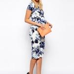 robe de grossesse fleurie et mi longue manche courte