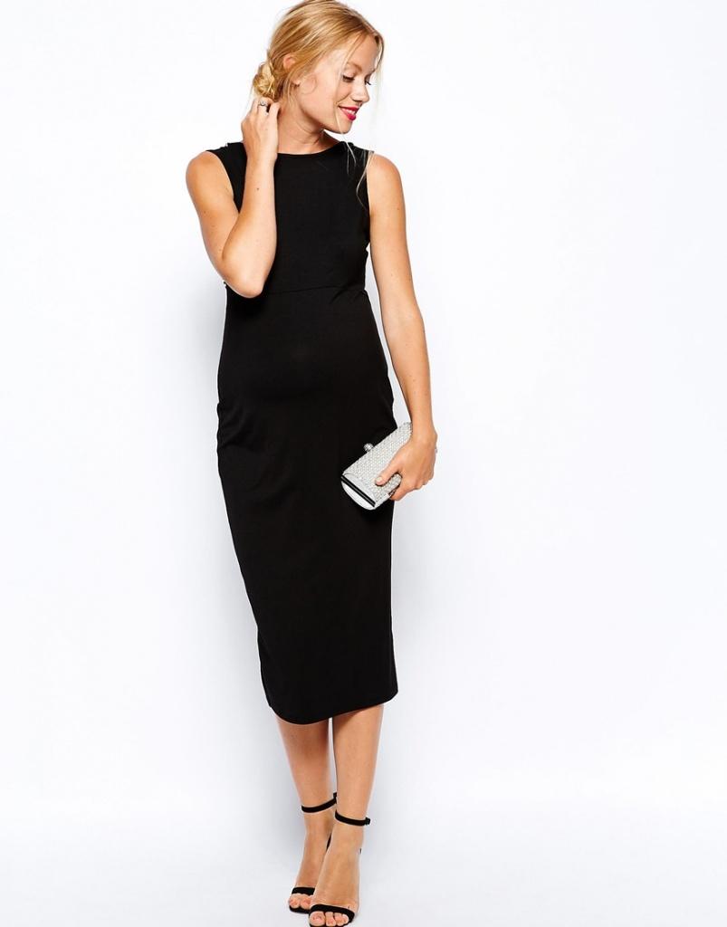 robe de grossesse habillee longue sans manche noire