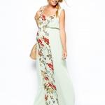 robe de grossesse longue bi matiere et motifs fleuris