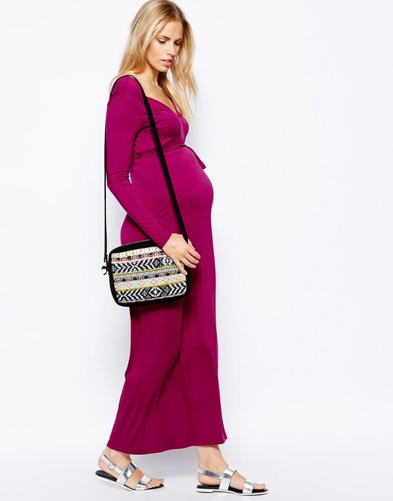 robe de grossesse manches longues rose fonce