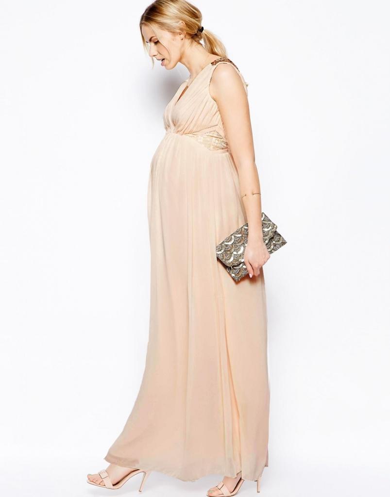 robe de grossesse mouseline pour mariage beige longue