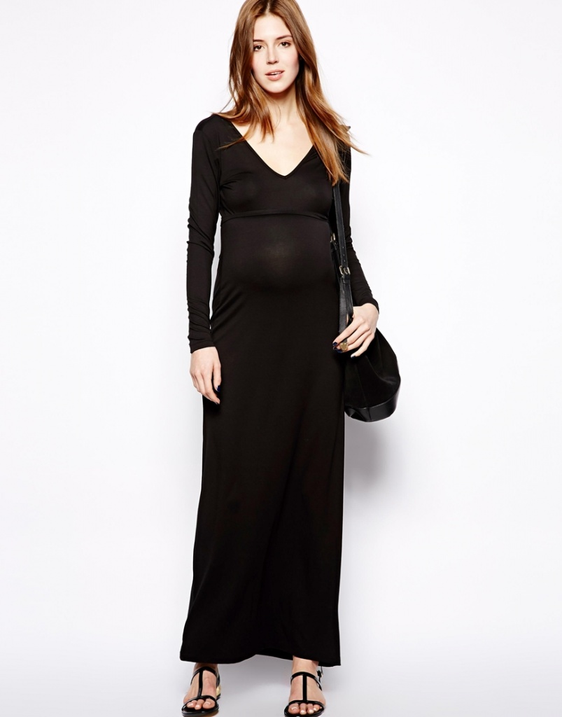 robe de grossesse noire longue moulante