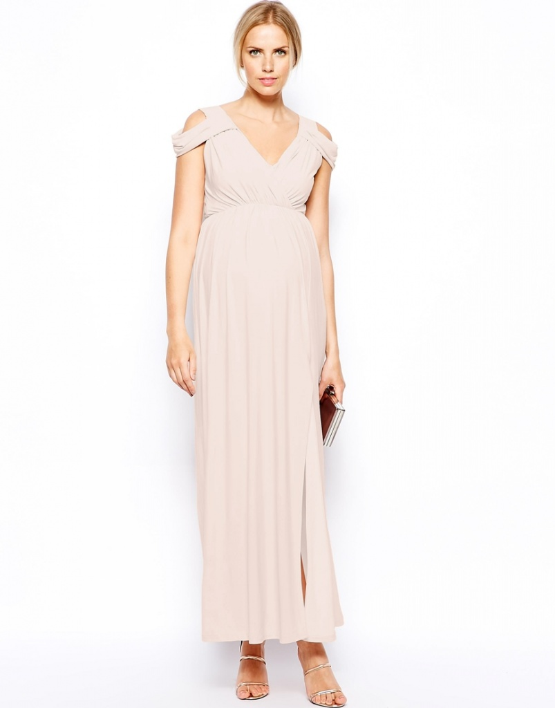 robe de maternite habillee longue ecru mousseline