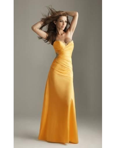 robe de soiree longue cocktail jaune bustier