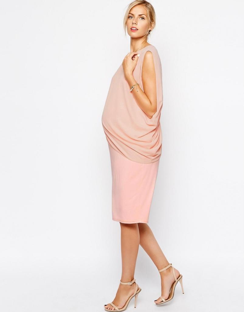 robe drapee rose grossesse habillee longue
