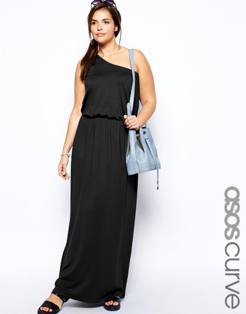 robe droite longue grande taille noire manches asymetriques